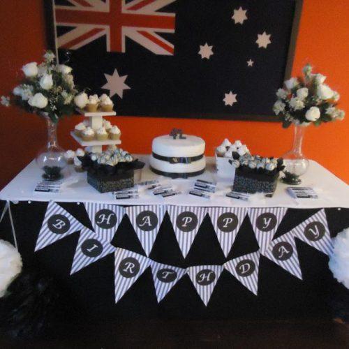 Decoración Cumpleaños para Hombre- Blanco y Negro