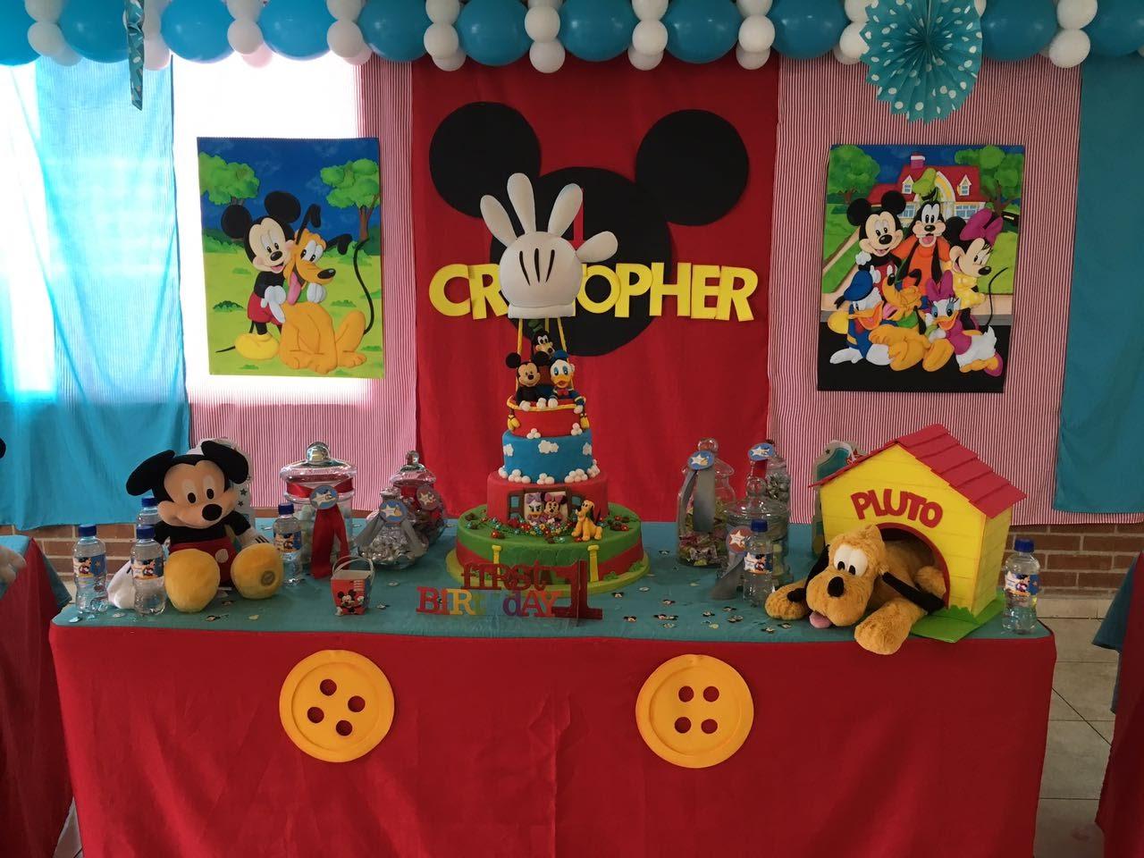Decoracion fiesta 1 a ito mickey decoraciones tematicas - Decoracion primer cumpleanos ...