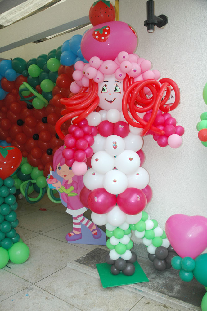decoracion en globos rosita fresita
