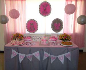 Decoracion baby shower niña gris y rosado