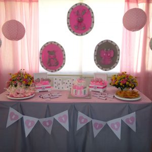 Decoracion baby shower niña gris y rosado